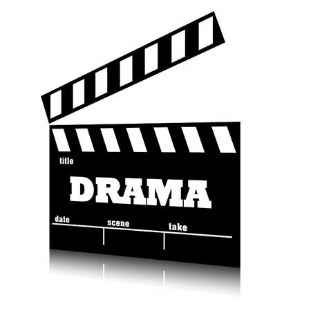 Clap film of cinema drama genre, clapperboard text illustration.