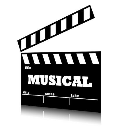 genre: Clap film of cinema musical genre, clapperboard text illustration.