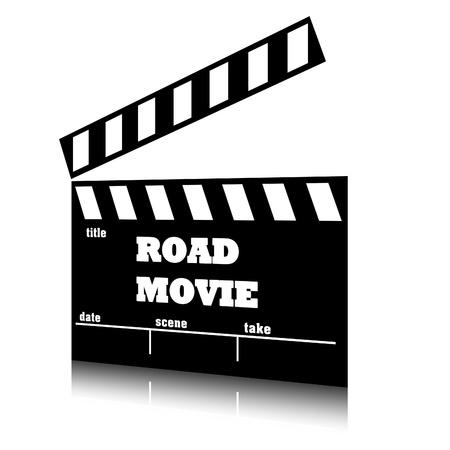 Clap film of cinema road movie genre, clapperboard text illustration. Stock Photo