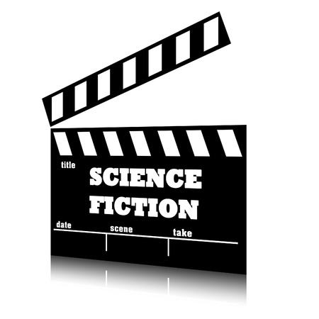 Clap film of cinema science fiction genre, clapperboard text illustration. illustration
