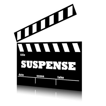 suspenso: Clap cine de género de cine de suspense, ilustración clapperboard texto.