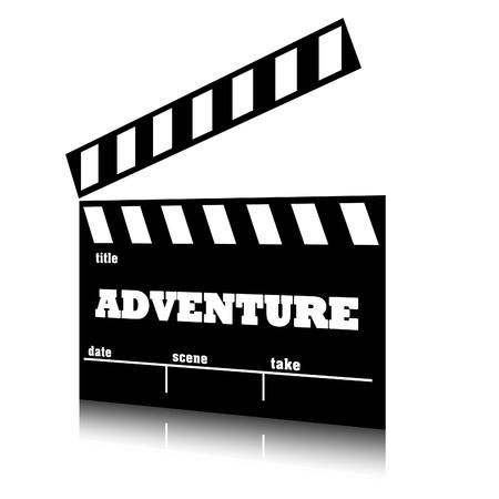 Clap film of cinema adventure genre, clapperboard text illustration. Stock Photo
