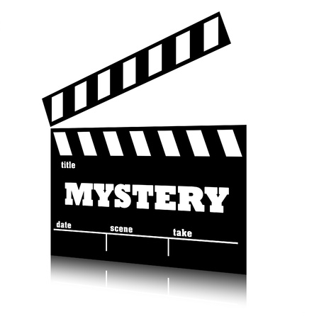 genre: Clap film of cinema mystery genre, clapperboard text illustration.