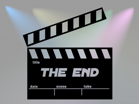 the end of time: Clap film of cinema the end, clapperboard text illustration.