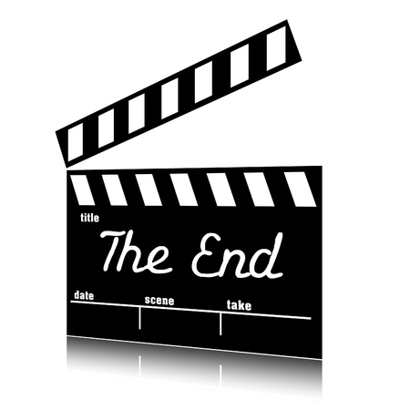 the end: Clap film of cinema the end, clapperboard text clip art.