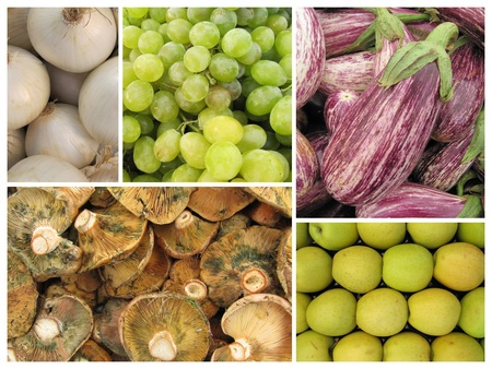Mosaic of autumn fruits and vegetables  photo