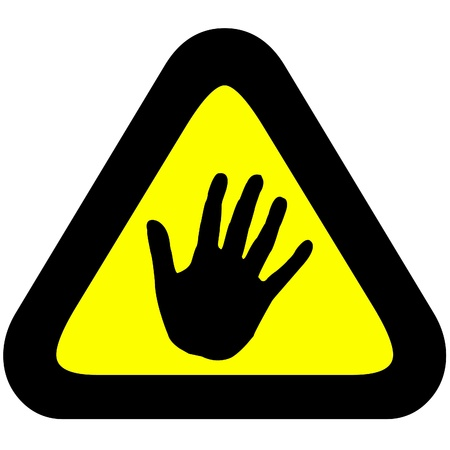 halt: Warning sign to stop or halt, hand in yellow triangle.