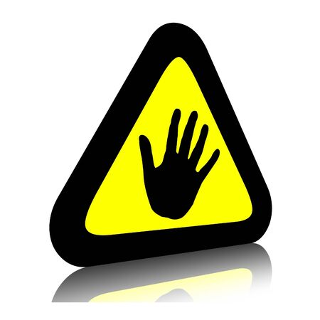 halt: Warning sign to stop or halt hand in yellow triangle. 3d