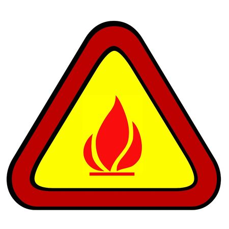 Signal flammable, flame of fire on yellow triangle. photo
