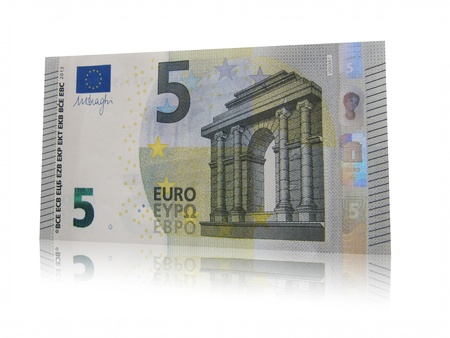 New banknote five euros, isolated bill. Stock Photo