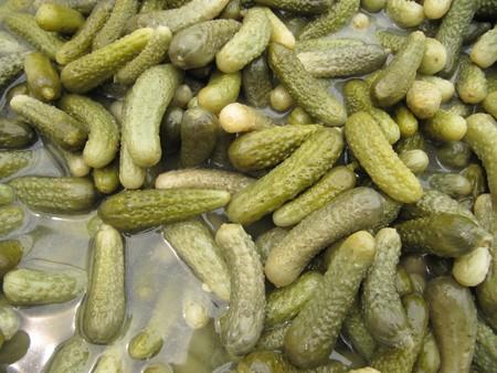 Pickles or gherkins in vinegary.