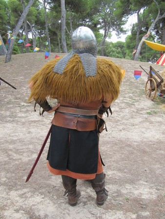 Medieval soldier at the camp