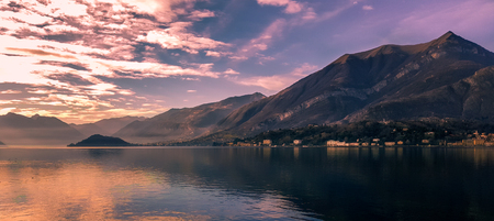 A scenic sunset in the alpine hills above Lago di Como, Lombardy, northern Italy. Stockfoto