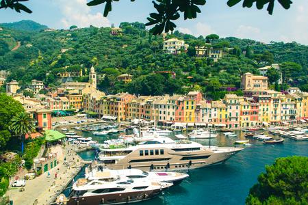 Portofino, Italy - July 10 2013: Beautiful bay of Portofino in the summer day.
