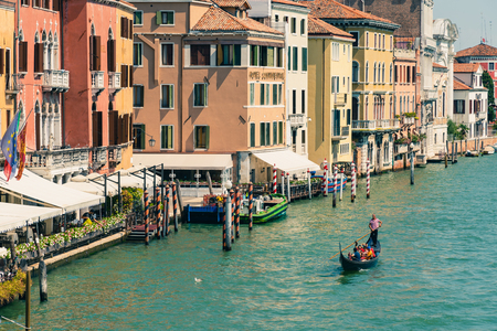 Venice, Italy - August 22 2018: View of Grand Canal whit gondola in Venice, Italy. Sajtókép