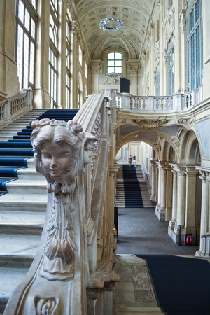 Turin, Italy - August 05 2012: Baroque interior of Palazzo Madama, Piazza Castello, Turin
