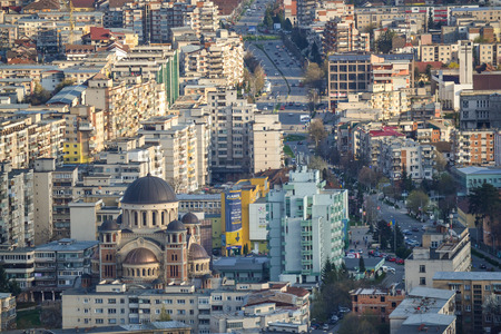 The city of Deva in  Romania is seen from above. Stock Photo