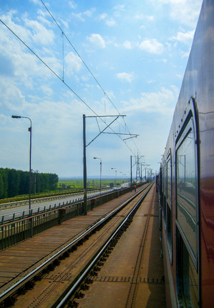 On the road by train in Romania. Stockfoto