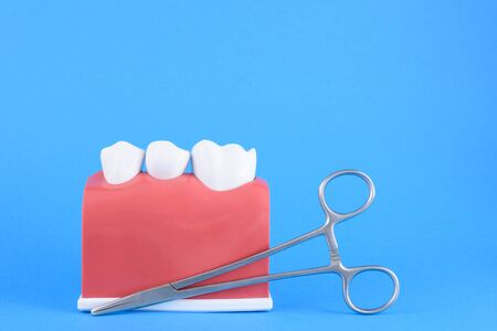 False mouth dentist in blue background with equipment for toothbrush