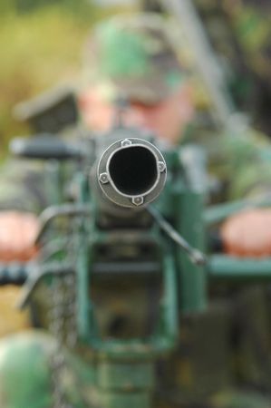 Anti-Aircraft Machine Gun Stock Photo