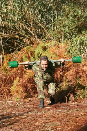 Military physical training, exercise with weight Stock Photo - 6535160