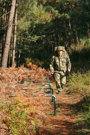 Military physical training, runningmarch with weapon and backpack
