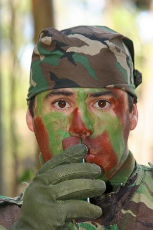 Military training combat, face camouflage photo
