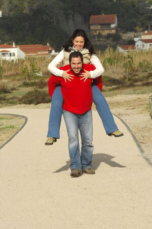 couple walking and have fun photo