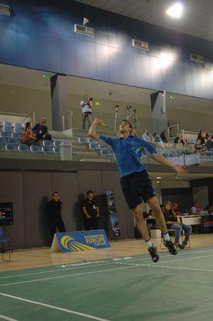 racket stadium: CALDAS DA RAINHA, PORTUGAL - MAY 1: Fabian Hammes (GER), in the Mens Singles 3rd day game at the 45 Victor Portuguese International Championships May 1, 2010 in Caldas da Rainha, Portugal.