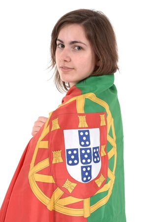 Portugal Soccer fan, isolated on white background  Stock Photo - 7034156