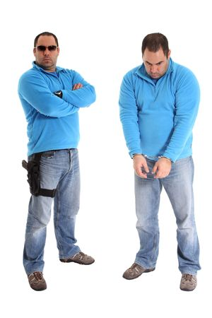 Men with a gun and handcuffs, isolated on white background photo