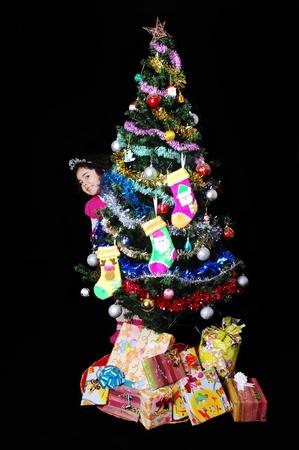 girl with christmas present photo