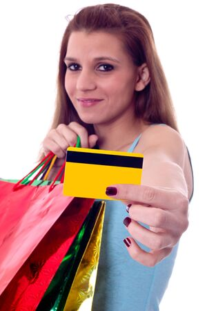 sexy woman with shoping bags and a credit card Stock Photo
