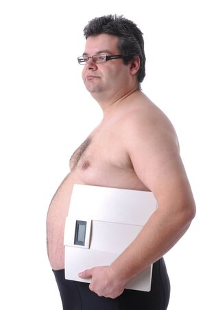 Fat man preparing to workout, with scale