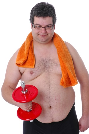 Fat man doing workout with dumbells with orange towel