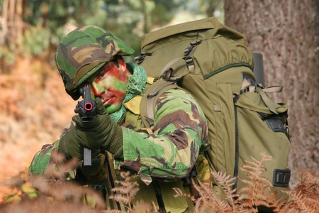 Military training combat, forestjungle environment