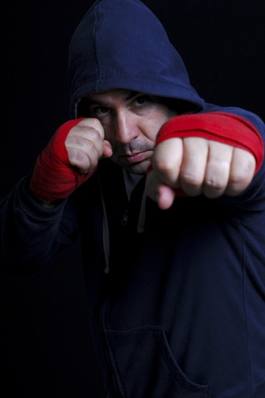 Street fighter (focus on the hand) Stock Photo
