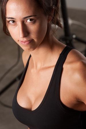 Girl training body combat Stock Photo