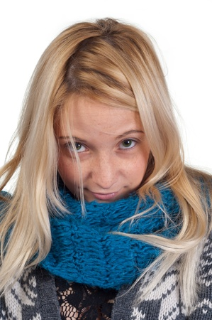 lifestyle looking lovely: sweet blond girl portrait, closeup face photo Stock Photo