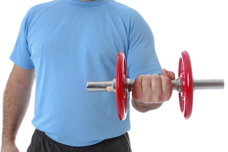 Man lifting weight against a white background  photo