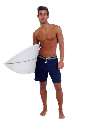 surfer holding a surfboard  isolated in white background