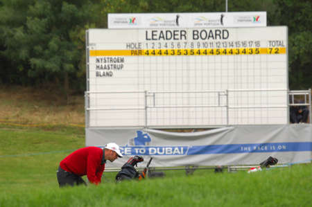 walk board: SINTRA, PORTUGAL - JUNE 10:Image of the leader board, in the 1st day game at the European Tour - Estoril Open de Portugal 2010, Penha Longa GC, June 10, 2010, Sintra, Portugal.