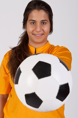 female referee with a soccer ball Stock Photo - 13025502
