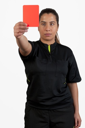 female referee showing the red card, focus on the card photo
