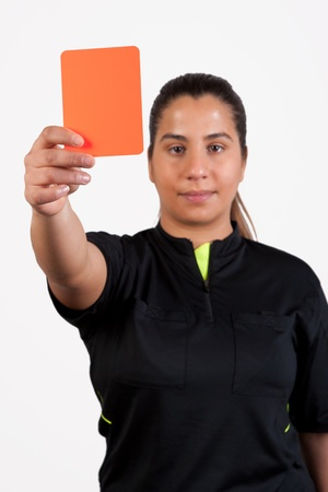 female referee showing the red card photo