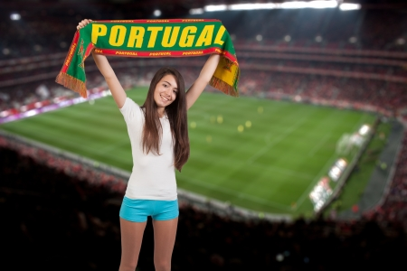 goalpost: soccer fan stadium on the back with a portuguese scraf