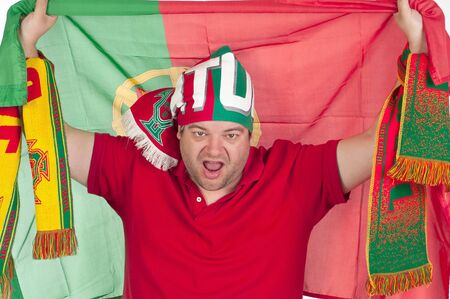 Portugal soccer fan with the portuguese flag on is back Stock Photo