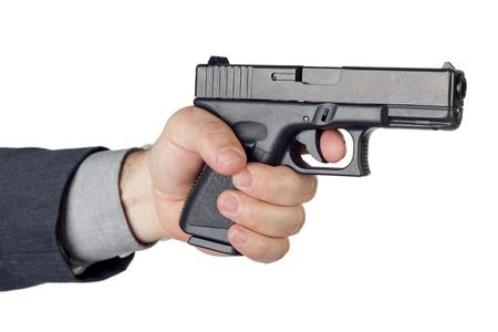 man holding gun: Business men under threat of death, asking to be saved