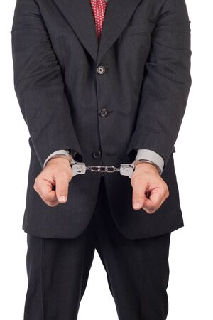 Men with a gun and handcuffs, isolated on white background