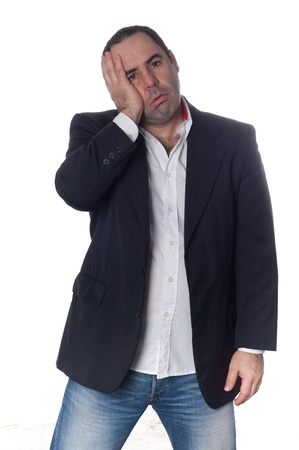 man stressed hand in the head over white background